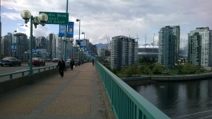 Crossing Cambie St. bridge